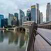 View of Singapore's downtown from the Esplanade Bridge.
