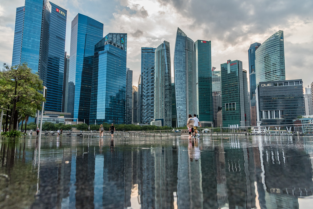 Marina Bay skyline reflection.
