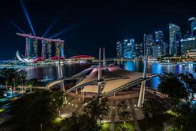 Marina Bay skyline at night.