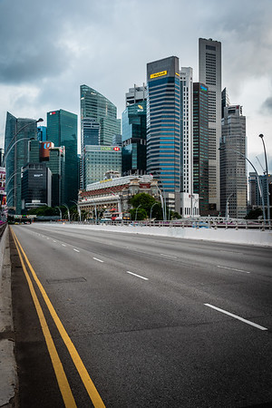 View of Singapore's CBD skyscrapers from Esplanade Bridge.