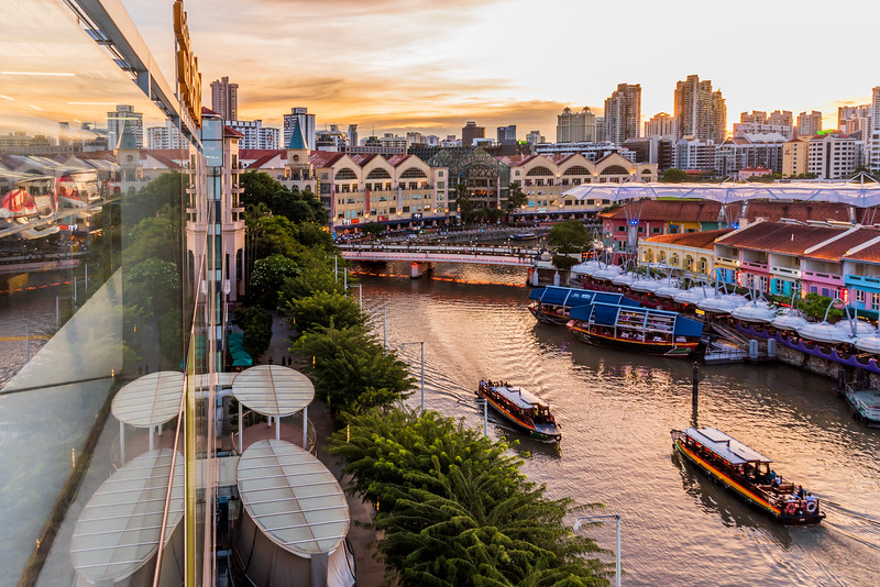 View of Clarke Quay at sunset.