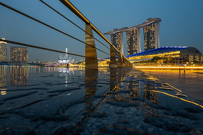 View of Marina Bay Sands and ArtScience Museum from The Promontory.