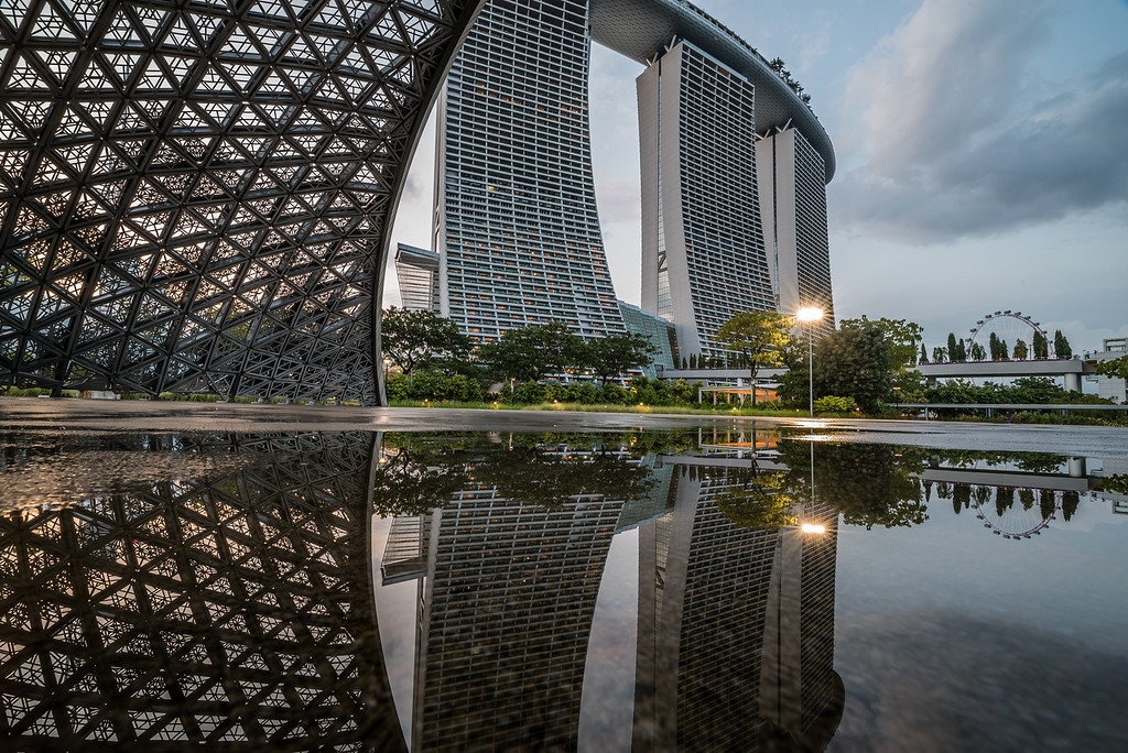 View of Marina Bay Sands and Singapore Flyer from Gardens by the Bay.