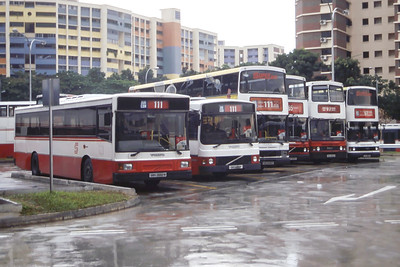Singapore Bus Services Line Up Hougang Interchange Singapore Sep 98