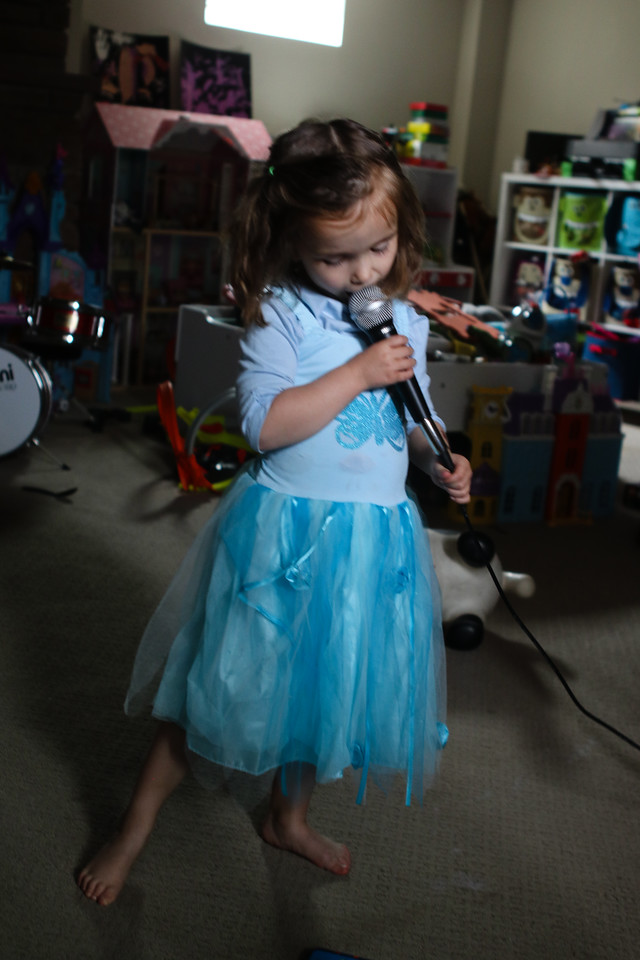 "Celia and I watched the ""Sing"" movie again and then she wanted to sing, loudly. She's a great singer and dancer and we had fun, but she kept singing, and screaming, loudly. She was trying to copy their dramatics. She kept throwing things too for dramatic effect. <br /> Celia was 4 yeras old<br /> Denver, CO"