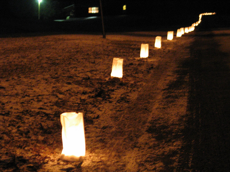 Luminaries lit the way from the lodge to the cabin retreats for the first evening.  Thanks Don!