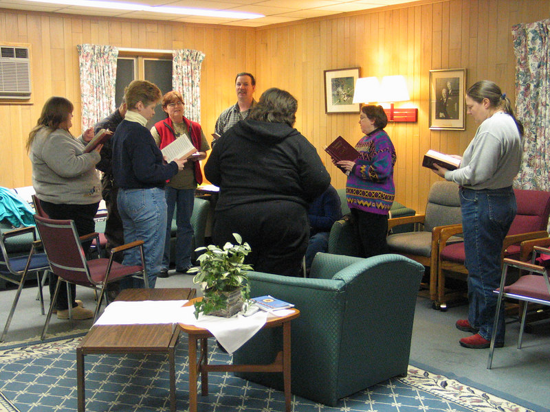 "Some enjoyed a ""hymn-sing"" after Saturday's evening session."