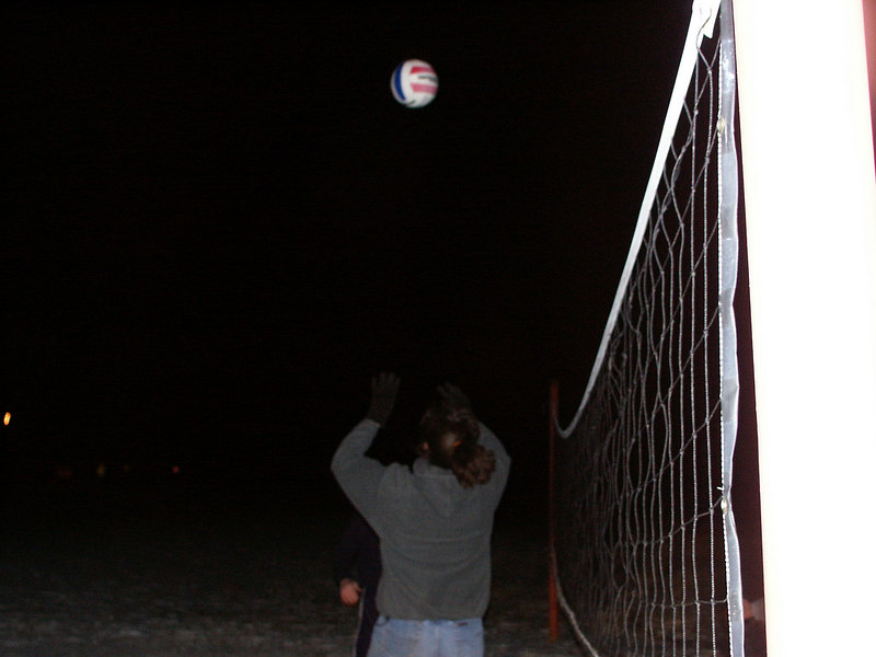 "Would you believe ""Midnight Ice Volleyball by headlight?"""