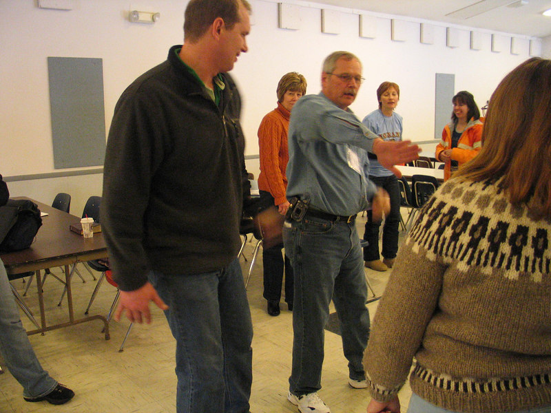 Hank Windows (right) gave a workshop on self-defense.