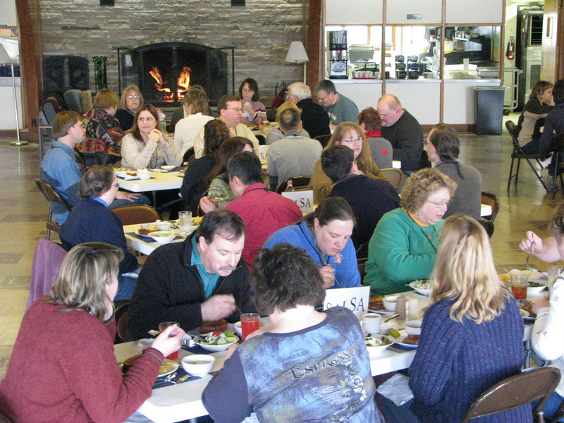 Participants enjoying a delicious lunch on Saturday of the retreat.