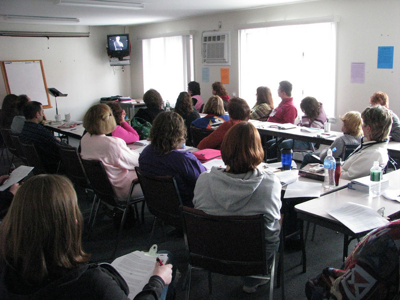 The workshop on prayer was well attended.  Here they are viewing a video clip for discussion.