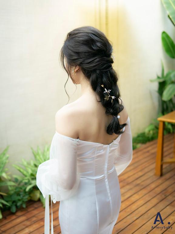 新祕,Ariesybaby造型團隊,白紗造型,蓬鬆線條,清透自然妝感,台中新秘