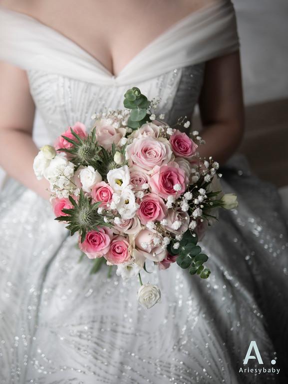 新祕,Ariesybaby造型團隊,新娘捧花,粉色捧花,圓形捧花