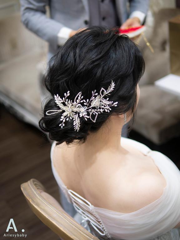 新祕,Ariesybaby造型團隊,白紗造型,低盤髮,蓬鬆線條