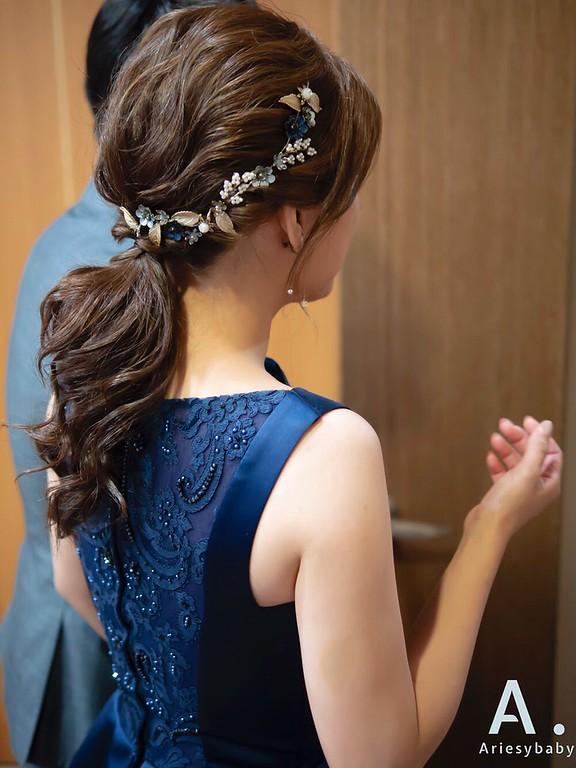 新祕,Ariesybaby造型團隊,送客造型,蓬鬆馬尾,新娘髮型