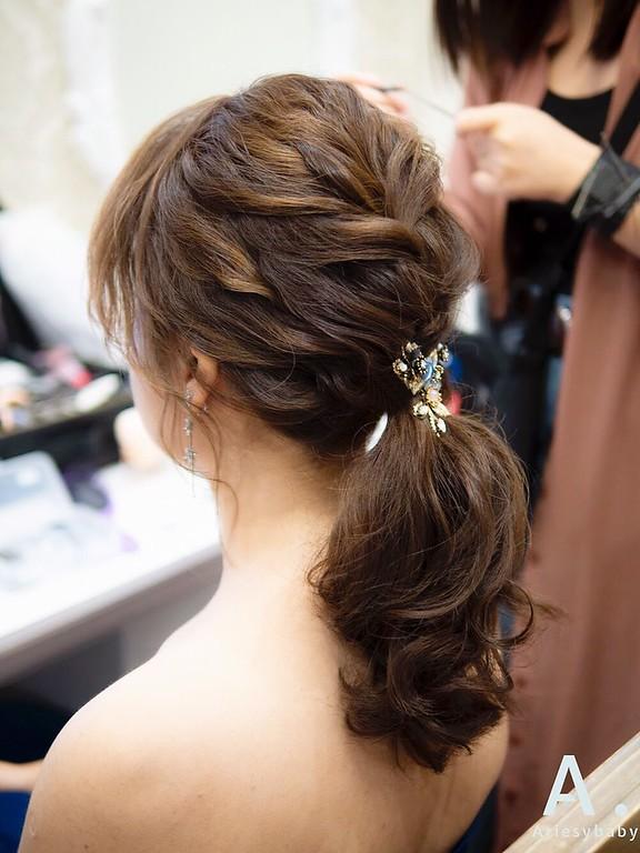 新祕,Ariesybaby造型團隊,歐美新娘,敬酒送客造型,編髮馬尾,新娘髮型