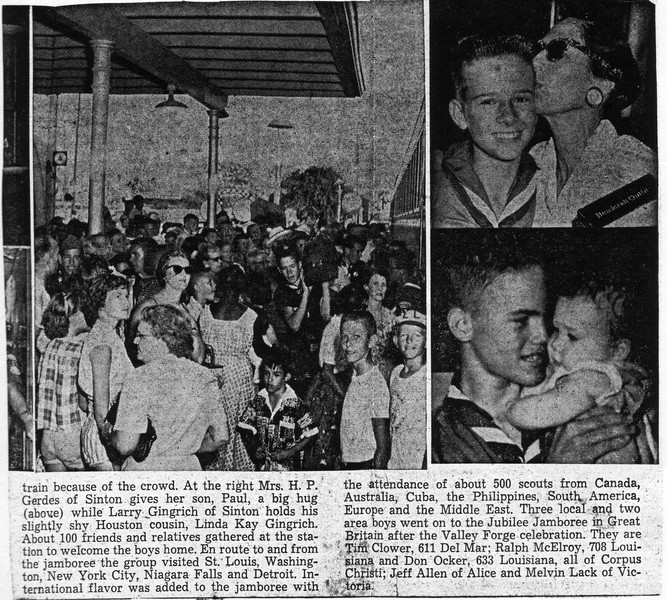1957-Corpus Christi Caller Times with article about Boy Scouts returning from the Jamboree at Valley Forge. Coincidentally, they published the pictures of me and my BEST friend since about 3 years old, Larry Gingrich. He ended up being an Aggie, but that's ok.