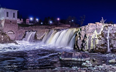 Falls Park in the evening in Sioux Falls, South Dakota. Enjoy and hold hands.
