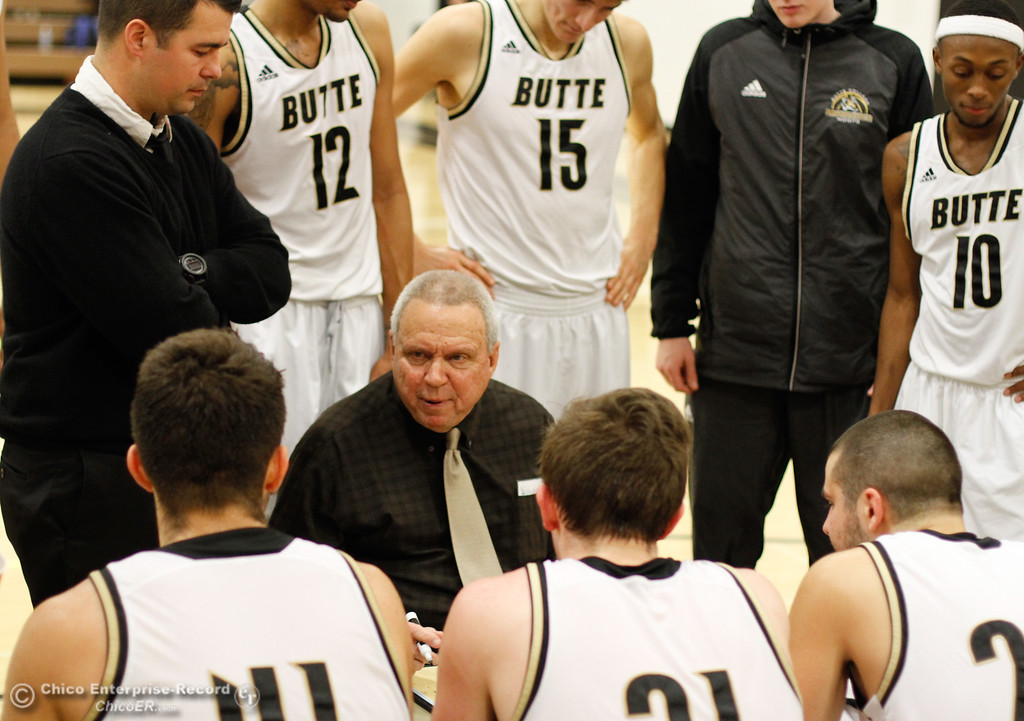 . Butte College\'s head coach Russ Critchfield guides the team during a break in their game against Siskiyous January 23, 2017 at Butte College in Oroville, California. (Emily Bertolino -- Enterprise-Record)