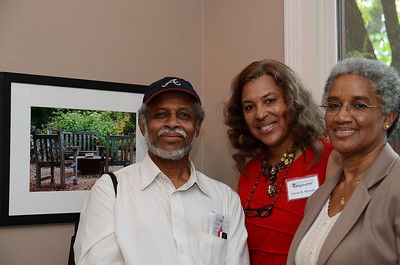 "Vincent Rhoden, Mary Gipson & I pose in front of my piece ""Outdoor Seating."" Photo taken by Sistagrapher Nafisa Sheriff."