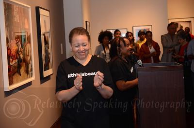 Spelman President Dr. Beverly Daniel Tatum introduces Dr. Deborah Willis, exhibition curator.