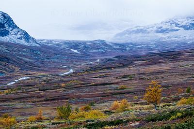Snøstorm og høstfjell