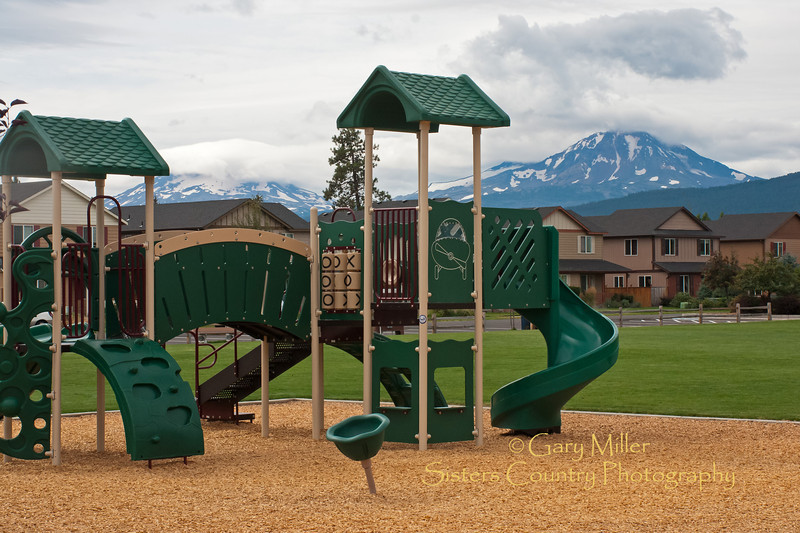 Playground with a view - Clemens Park where the kids are watched over by the Three Sisters - Sisters, Oregon - Photo by Gary N. Miller - Sisters Country Photography