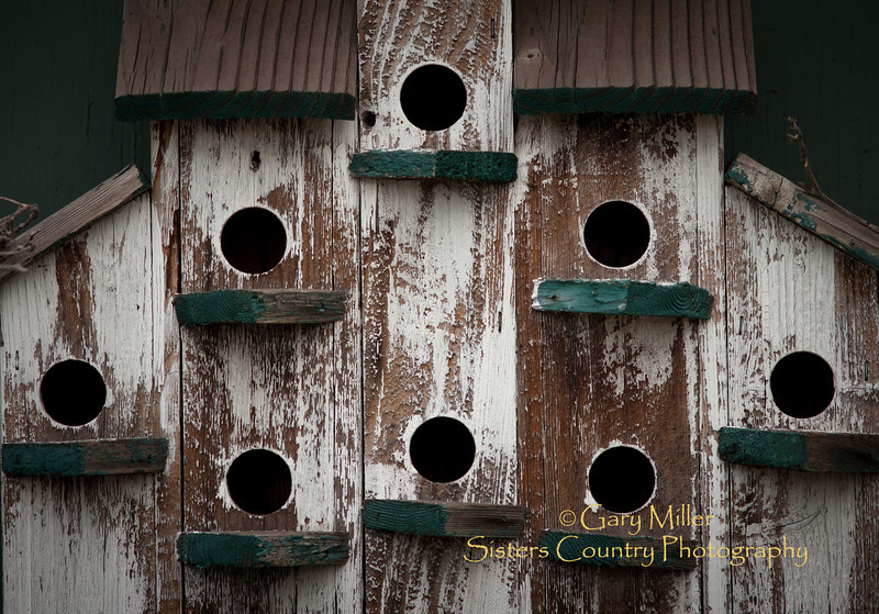 Birdhouse art on the wall of Jen's Garden - Sisters, Oregon - Photo by Gary N. Miller - Sisters Country Photography