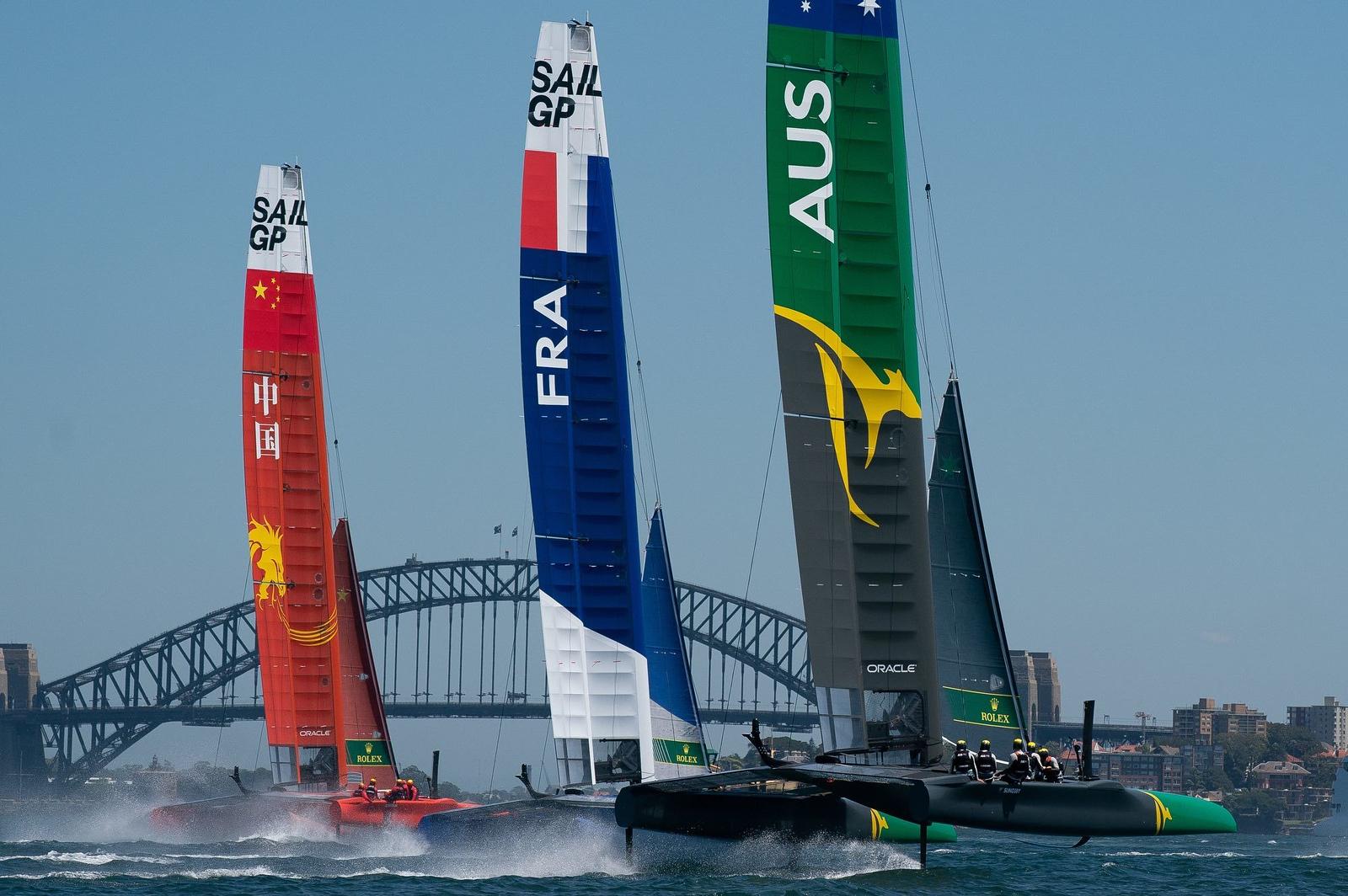 SailGP Team China, France, and Australia boats (photo credit: SailGP)