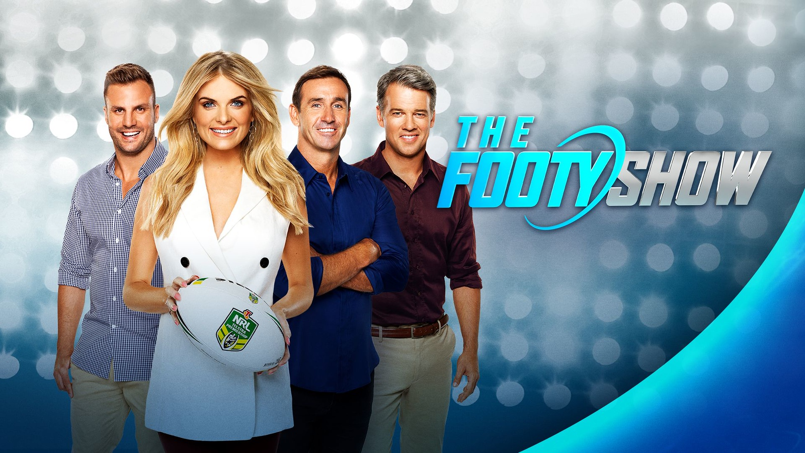 The Footy Show logo and hosts (photo credit: 9Now)