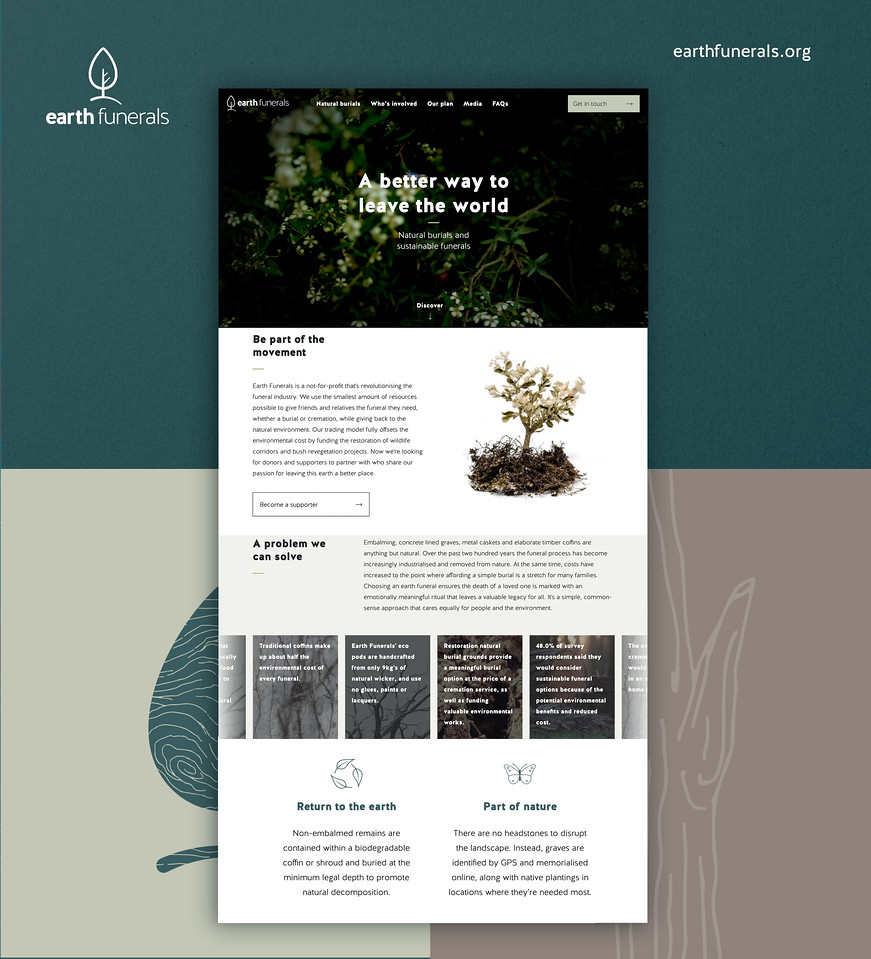 Earth Funerals sample website (photo credit: Earth Funerals/VMLY&R Melbourne)