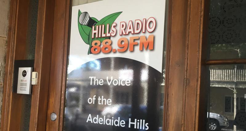 Hills Radio 88.9FM office door (photo credit: InDaily)