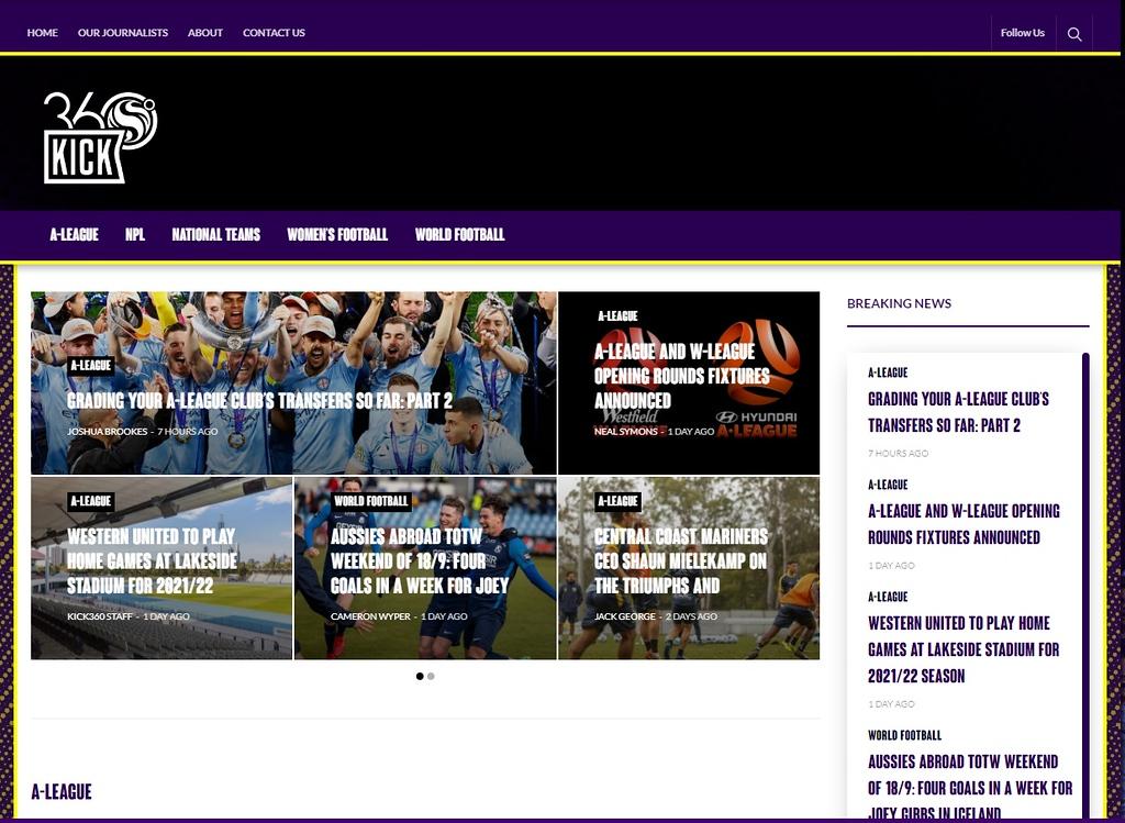Screenshot of Kick360.com.au home page articles (photo credit: Kick360)