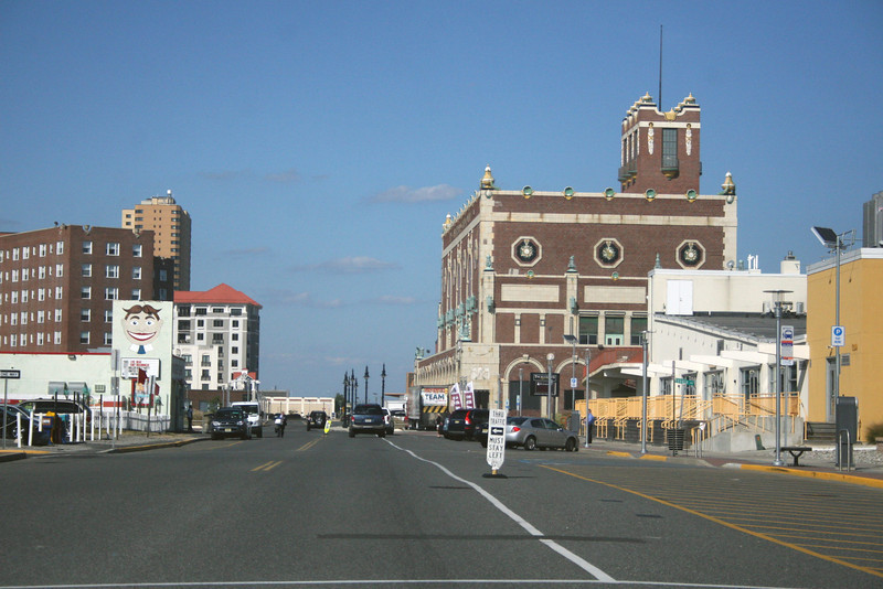 View North along Ocean Blvd. North Beach site with red roof on left. Asbury Conv. Center on right.