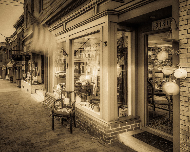 Looking Down Main Stree From Cottage Antiques, Antique Tone