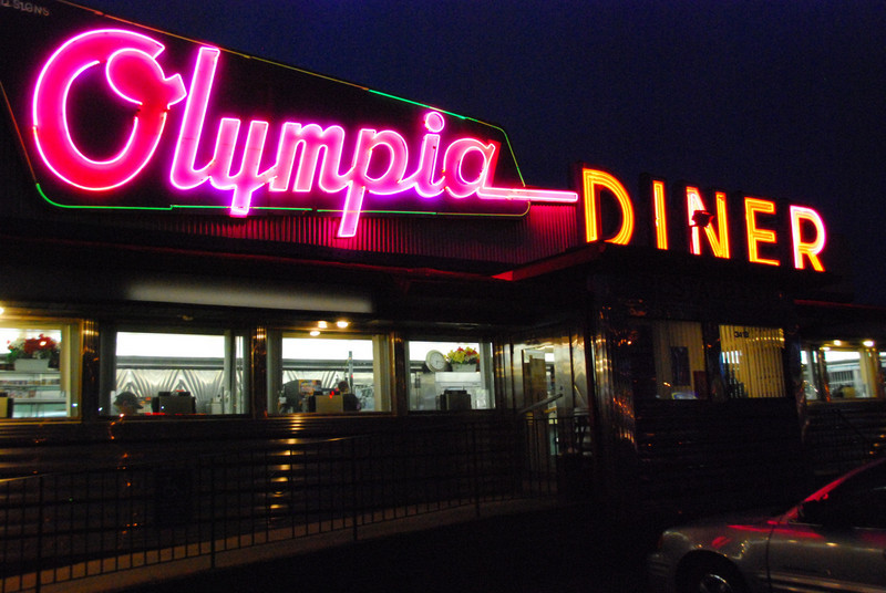 "<b>Olympia</b> (Newington, CT) - Huge neon signs, a sleek stainless steel exterior, the best breakfast in town, and jukeboxes at each booth that offer the range of music from Elvis to Bob Marley and Lady Gaga make this a diner a winner.  The full gallery is at <a href=""http://www.eclecticlightcompany.com/Full-Diners/Olympia/14299649_gpgYR#1073561993_iYNRc"">Olympia Diner</a>."