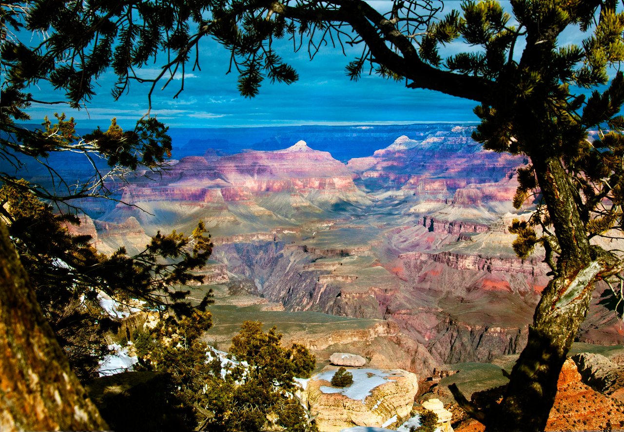 A Little Snow at Yaqui Point, Grand Canyon