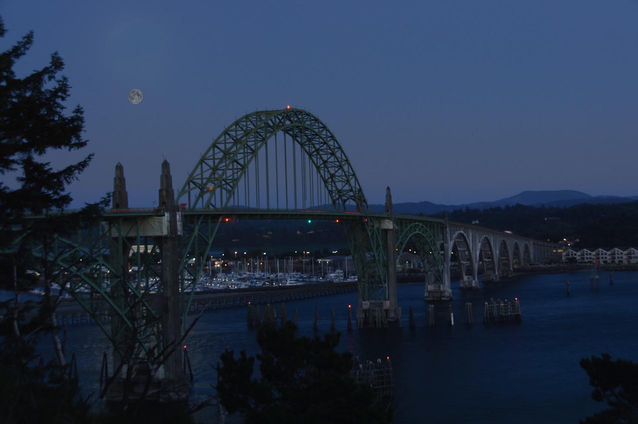 Moon Rise at Yaquina Bay Bridge