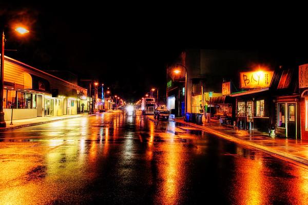 Rainy Night on the Bay Front, Newport, Oregon