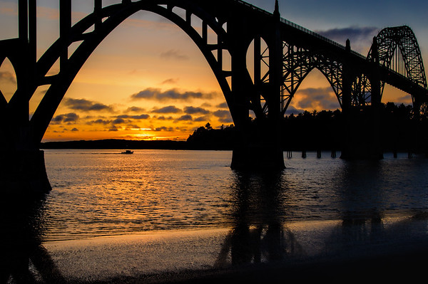 Sunset by the Yaquina Bay Bridge