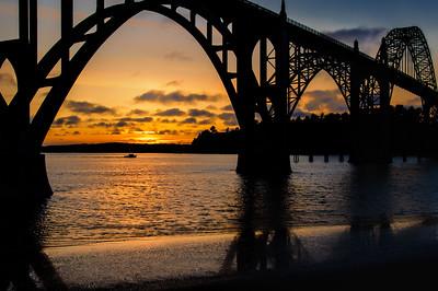 Sunset by the Yaquina Bay Bridge
