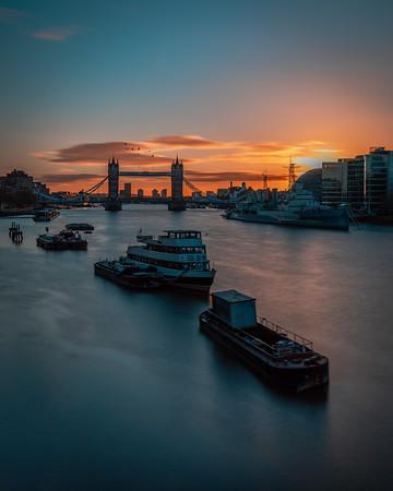 Tower Bridge, Christmas morning.