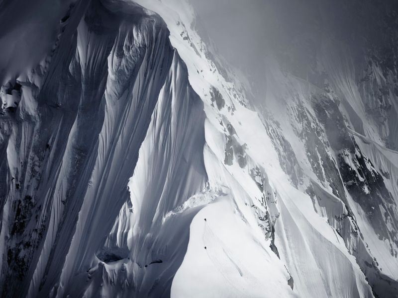 "Tim Kemple – 2015 www.kemplemedia.com ""Two climbers on Mt Huntington in Alaska. Shot with Phase One medium format from a helicopter."""