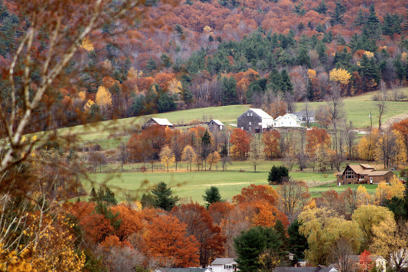 Gilford - Warm Fall Scene<br /> Week's Farm on the side of Belknap Mountain, Gilford, NH