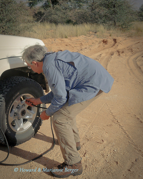<h2>TOP TIP:- warm up & stretch first!!</h2>Old age adventurers must remember to care for their backs before caring for the tires. Warm up and stretching exercises are essential before bending and straining and then lifting heavy 4x4 tires!!  As shown even I can still bend enough to reinflate the tires when we get out of heavy sand (our compressor is built into the engine bay).   Its a different story when you have to loosen tire nuts tightened by mechanics 50 years younger (dont forget to tell them tell  them that when you buy new tires, and get yourself an extending wheel spanner!) My back went the first time I tried to change our 4WD's puncture. Luckily we were in a camp when my back went, otherwise we would still be there in the bush. So warm up and stretch first before doing tire maintenance. '  Come to think of it this is my only original tip after 7 years of roughing it solo!  Couple of extra points: check your air compressor is working, when you hire your 4WD, before you leave the agent, and make sure that, the right size spanners for the wheel and also the hilift jack holder clamp are present. Check the pressure gauge was'nt won in a lucky packet.  By the way that blue shirt has now been retired because it is the favourite colour of tsetse flies!!