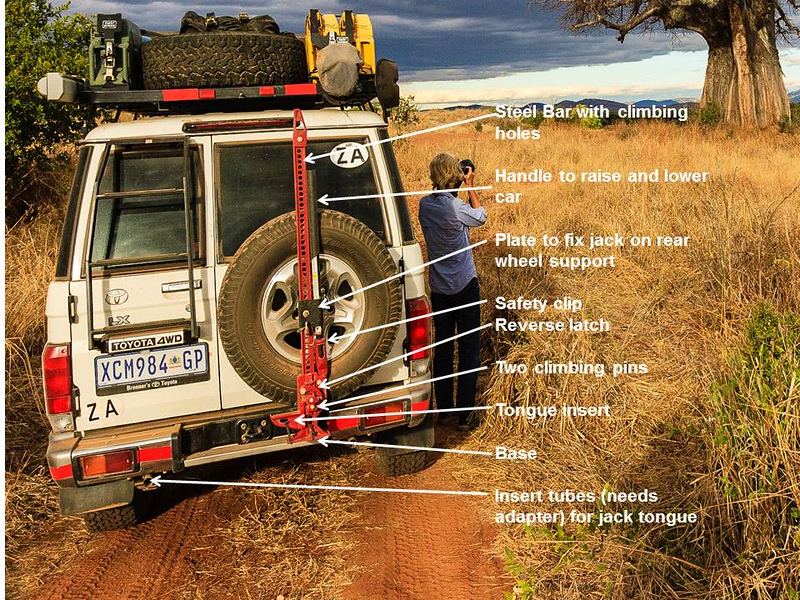<h2>Lifting your car (part 1): Hi-Lift jack</h2>When stuck in sand, mud or a ditch, and simpler methods have not been successful the use of a Hi-Lift jack can be essential. This is not often necessary and thus most people remain inexperienced in the technique, and this makes the equipment potentially dangerous. The danger with this method is, as well as the car tilting, is that the handle can shoot up if if not held or clipped in place when jacking up the car!!It is essential to have the technique thoroughly explained and demonstrated if you are hiring a 4WD. Check that all the moving parts e.g. climbing pins &  reverse latch (see photograph & click on image to enlarge it) are not rusty or blocked, and are well lubricated. Also watch videos on U tube e.g. http://www.youtube.com/watch?v=yxyvKdV2IEU&feature=related, before starting your safari and always revise the safety instructions just before using it. As with any method of raising the car the handbrake must be on and the wheels blocked using rocks or branches.   Check that your car has front e.g. built into the bull bar and rear insertion points (see photograph: we added these hollow bars as an extra rather than fit a new rear bumper). There is also a jacking strap available whereby the HiLift can be attached to one of the wheels. Invest in an extra wider base plate or use a wide wooden plank to prevent jack sinking into soft sand or mud.  Use your shovel to level the ground if necessary to ensure jack is vertical or car will tilt over. In any case never climb under car which is raised on a jack as it is never stable!  After raising the reverse latch (see photograph) the car is raised by lowering and raising the handle (the climbing pins go up in & out of the holes in the bar). Wear gloves and remember it is essential to hold the handle with both hands and keep your head out of the way at all times. Only stop the jacking movement when you have raised the handle and locked it to the bar using the safety clip (see 