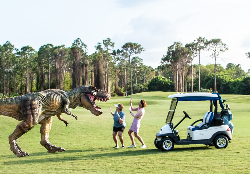 Whether in your back yard or on the golf course, you do not want to run into a Tyrannosaurus rex. Don't miss the fun facts about T. rex at the bottom of this page. (By the way, my friends Carol and Martha were not harmed in making this photo.)