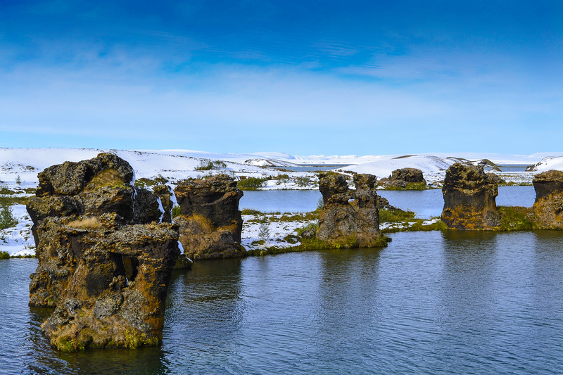 Lava formations in Lake Mývatn. This lake was created about 2,300 years ago during a volcanic eruption.