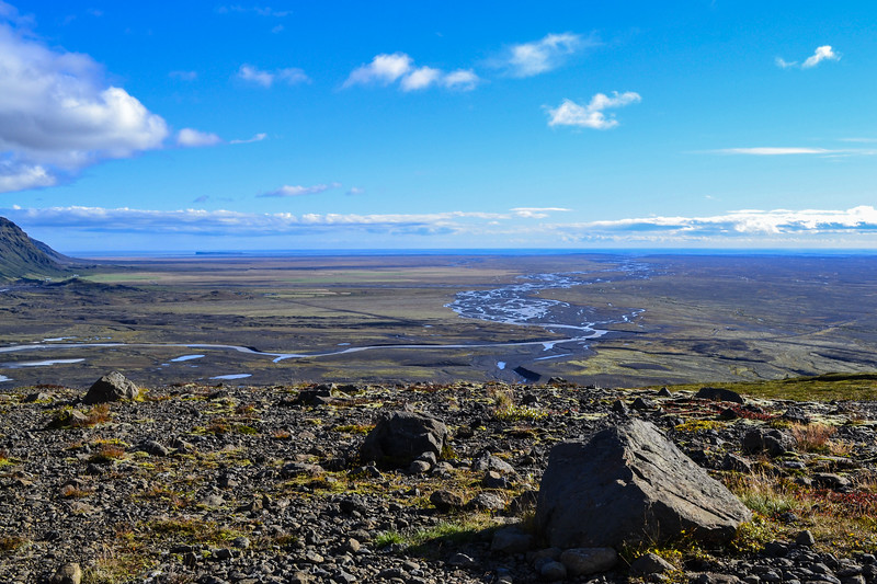 Skeiðarársandur, the world's largest outwash plain, created as meltwater from glaciers made its way to the sea, depositing lots of black lava sand and ashes. Jökulhlaups caused by Grímsvötn rush across this plain.