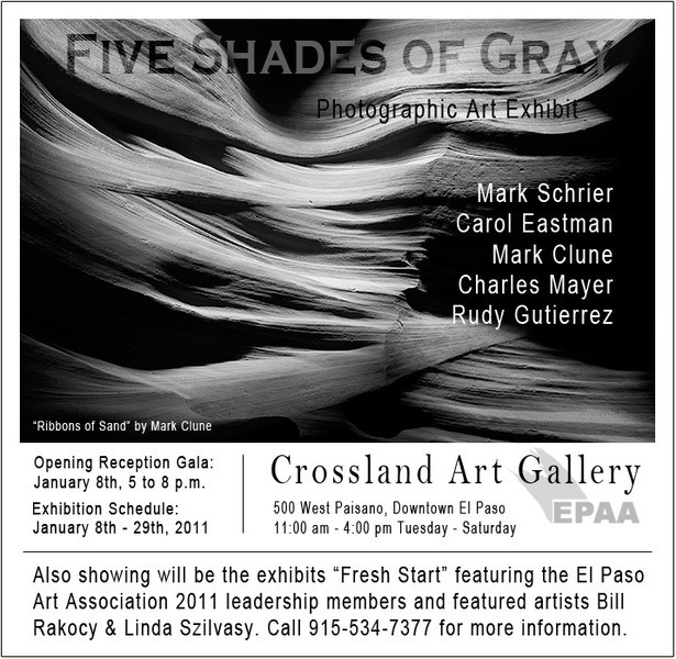 "One of five participating artists in the ""Five Shades of Gray"" art show at the Crossland Art Gallery."